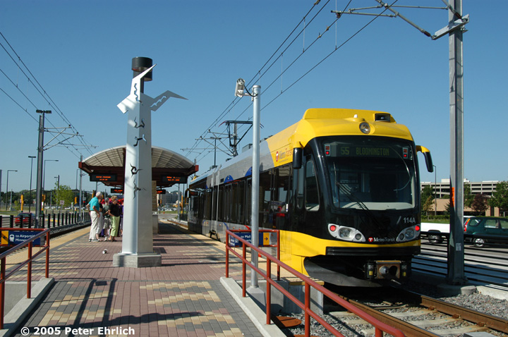 (156k, 720x478)<br><b>Country:</b> United States<br><b>City:</b> Minneapolis, MN<br><b>System:</b> MNDOT Light Rail Transit<br><b>Line:</b> Hiawatha Line<br><b>Location:</b> <b><u>28th Ave. </b></u><br><b>Car:</b> Bombardier Flexity Swift  114 <br><b>Photo by:</b> Peter Ehrlich<br><b>Date:</b> 8/27/2005<br><b>Notes:</b> Arriving 28th Avenue Station outbound, trailing view.<br><b>Viewed (this week/total):</b> 2 / 1000