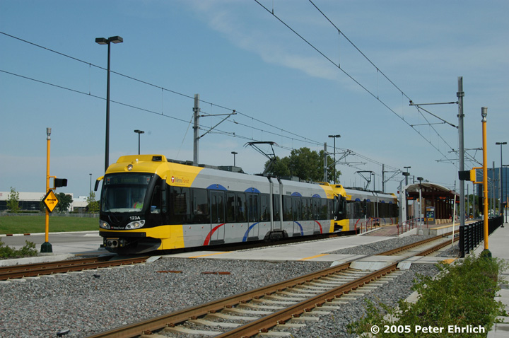 (144k, 720x478)<br><b>Country:</b> United States<br><b>City:</b> Minneapolis, MN<br><b>System:</b> MNDOT Light Rail Transit<br><b>Line:</b> Hiawatha Line<br><b>Location:</b> <b><u>28th Ave. </b></u><br><b>Car:</b> Bombardier Flexity Swift  123+114 <br><b>Photo by:</b> Peter Ehrlich<br><b>Date:</b> 9/4/2005<br><b>Notes:</b> Outbound train at/leaving 28th Avenue Station.<br><b>Viewed (this week/total):</b> 0 / 1233