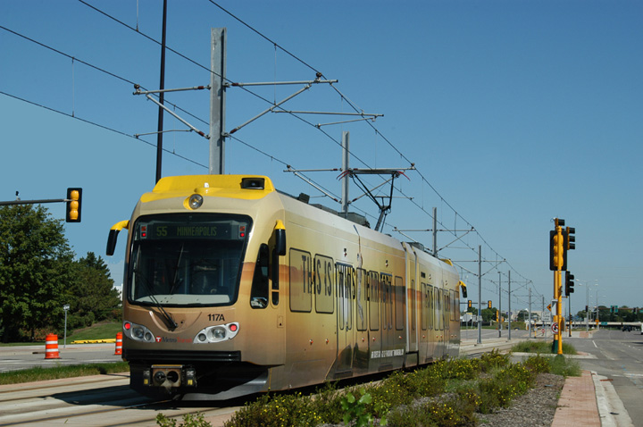 (133k, 720x478)<br><b>Country:</b> United States<br><b>City:</b> Minneapolis, MN<br><b>System:</b> MNDOT Light Rail Transit<br><b>Line:</b> Hiawatha Line<br><b>Location:</b> 34th Avenue/Appletree <br><b>Car:</b> Bombardier Flexity Swift  117 <br><b>Photo by:</b> Peter Ehrlich<br><b>Date:</b> 8/28/2005<br><b>Notes:</b> At 34th Avenue/Appletree inbound.<br><b>Viewed (this week/total):</b> 0 / 1285