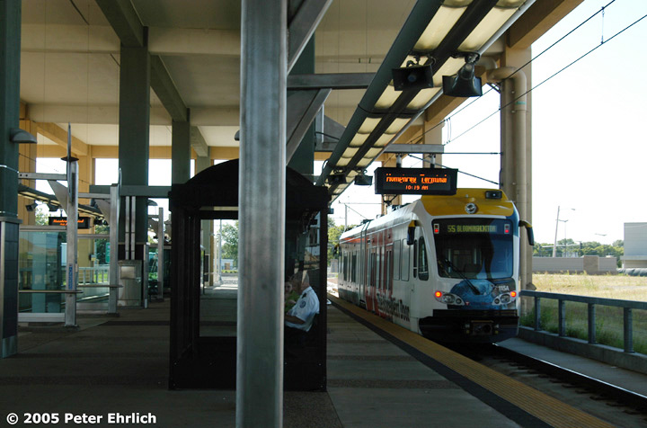 (129k, 720x476)<br><b>Country:</b> United States<br><b>City:</b> Minneapolis, MN<br><b>System:</b> MNDOT Light Rail Transit<br><b>Line:</b> Hiawatha Line<br><b>Location:</b> <b><u>Airport-Humphrey Terminal </b></u><br><b>Car:</b> Bombardier Flexity Swift  115 <br><b>Photo by:</b> Peter Ehrlich<br><b>Date:</b> 8/27/2005<br><b>Notes:</b> Humphrey Terminal Station outbound.  Trailing view.<br><b>Viewed (this week/total):</b> 0 / 1751