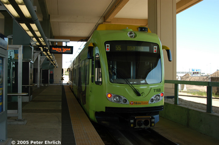 (118k, 720x478)<br><b>Country:</b> United States<br><b>City:</b> Minneapolis, MN<br><b>System:</b> MNDOT Light Rail Transit<br><b>Line:</b> Hiawatha Line<br><b>Location:</b> <b><u>Airport-Humphrey Terminal </b></u><br><b>Car:</b> Bombardier Flexity Swift  116 <br><b>Photo by:</b> Peter Ehrlich<br><b>Date:</b> 8/27/2005<br><b>Notes:</b> Inbound train at Humphrey Terminal Station.  Charter flights operate from this terminal.<br><b>Viewed (this week/total):</b> 0 / 1540