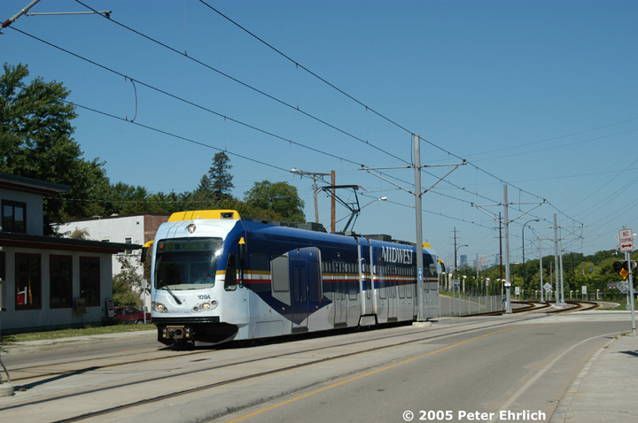 (125k, 720x478)<br><b>Country:</b> United States<br><b>City:</b> Minneapolis, MN<br><b>System:</b> MNDOT Light Rail Transit<br><b>Line:</b> Hiawatha Line<br><b>Location:</b> Minnehaha Avenue/52nd Street <br><b>Car:</b> Bombardier Flexity Swift  109 <br><b>Photo by:</b> Peter Ehrlich<br><b>Date:</b> 8/28/2005<br><b>Notes:</b> Outbound train at Minnehaha Avenue/52nd Street.<br><b>Viewed (this week/total):</b> 1 / 1338