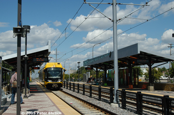 (163k, 720x475)<br><b>Country:</b> United States<br><b>City:</b> Minneapolis, MN<br><b>System:</b> MNDOT Light Rail Transit<br><b>Line:</b> Hiawatha Line<br><b>Location:</b> <b><u>46th Street </b></u><br><b>Car:</b> Bombardier Flexity Swift  105 <br><b>Photo by:</b> Peter Ehrlich<br><b>Date:</b> 8/28/2005<br><b>Notes:</b> Arriving 46th Street Station outbound.<br><b>Viewed (this week/total):</b> 2 / 943
