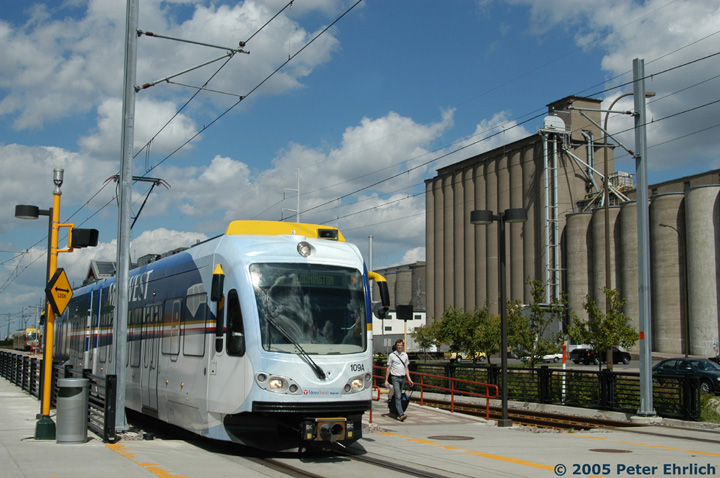 (152k, 720x478)<br><b>Country:</b> United States<br><b>City:</b> Minneapolis, MN<br><b>System:</b> MNDOT Light Rail Transit<br><b>Line:</b> Hiawatha Line<br><b>Location:</b> <b><u>38th Street </b></u><br><b>Car:</b> Bombardier Flexity Swift  109 <br><b>Photo by:</b> Peter Ehrlich<br><b>Date:</b> 8/28/2005<br><b>Notes:</b> Leaving 38th Street Station outbound.<br><b>Viewed (this week/total):</b> 0 / 1337