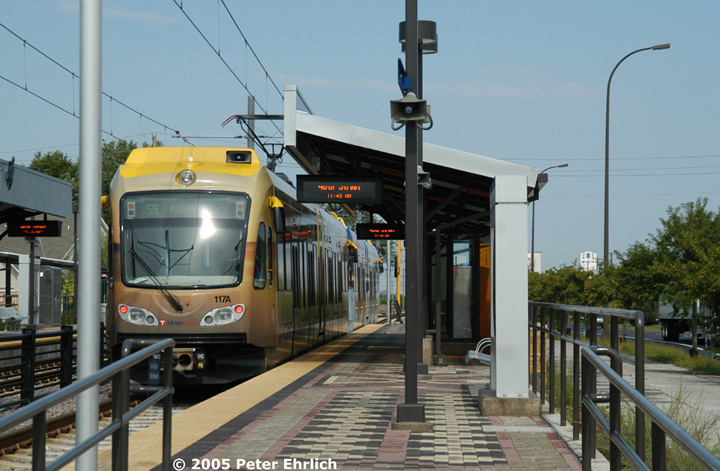 (139k, 720x471)<br><b>Country:</b> United States<br><b>City:</b> Minneapolis, MN<br><b>System:</b> MNDOT Light Rail Transit<br><b>Line:</b> Hiawatha Line<br><b>Location:</b> <b><u>46th Street </b></u><br><b>Car:</b> Bombardier Flexity Swift  117+101 <br><b>Photo by:</b> Peter Ehrlich<br><b>Date:</b> 9/4/2005<br><b>Notes:</b> At 46th Street Station inbound.<br><b>Viewed (this week/total):</b> 1 / 1064