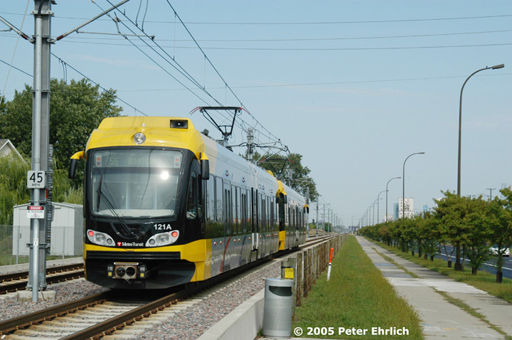 (142k, 720x478)<br><b>Country:</b> United States<br><b>City:</b> Minneapolis, MN<br><b>System:</b> MNDOT Light Rail Transit<br><b>Line:</b> Hiawatha Line<br><b>Location:</b> <b><u>46th Street </b></u><br><b>Car:</b> Bombardier Flexity Swift  121+103 <br><b>Photo by:</b> Peter Ehrlich<br><b>Date:</b> 9/4/2005<br><b>Notes:</b> Leaving 46th Street Station inbound.<br><b>Viewed (this week/total):</b> 0 / 1094