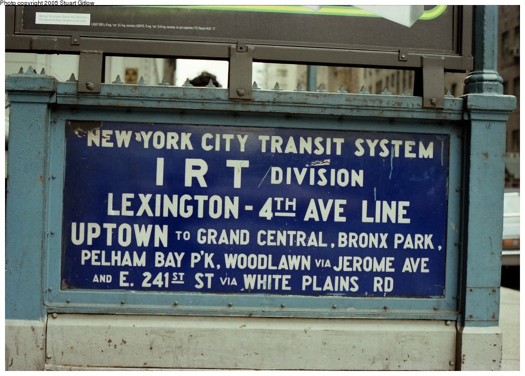 (158k, 1044x749)<br><b>Country:</b> United States<br><b>City:</b> New York<br><b>System:</b> New York City Transit<br><b>Line:</b> IRT East Side Line<br><b>Location:</b> 23rd Street <br><b>Photo by:</b> Stuart Gitlow<br><b>Date:</b> 10/1977<br><b>Notes:</b> Sign at entry to IRT Lex subway.<br><b>Viewed (this week/total):</b> 4 / 3505