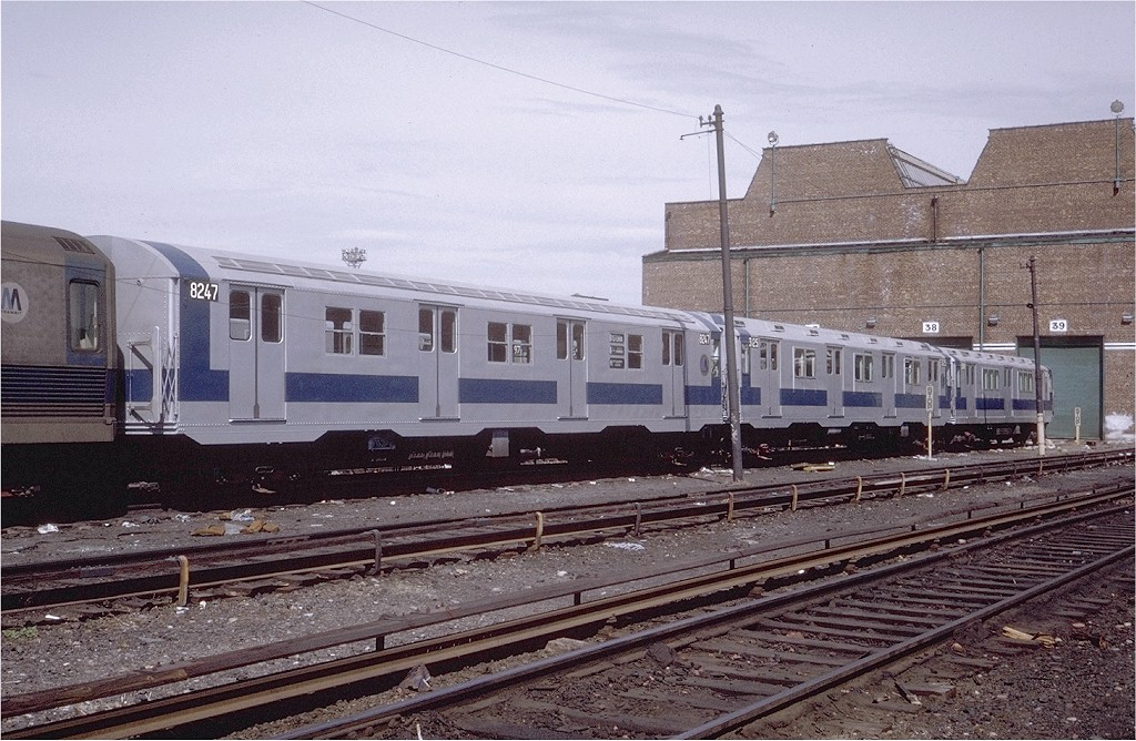 (231k, 1024x668)<br><b>Country:</b> United States<br><b>City:</b> New York<br><b>System:</b> New York City Transit<br><b>Location:</b> Coney Island Yard<br><b>Car:</b> R-27 (St. Louis, 1960)  8247 <br><b>Photo by:</b> Steve Zabel<br><b>Collection of:</b> Joe Testagrose<br><b>Date:</b> 4/16/1971<br><b>Viewed (this week/total):</b> 2 / 1400