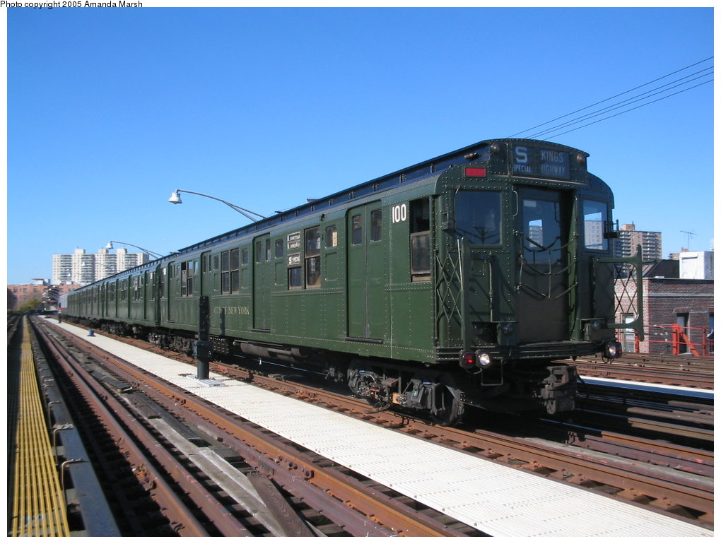 (160k, 1020x770)<br><b>Country:</b> United States<br><b>City:</b> New York<br><b>System:</b> New York City Transit<br><b>Line:</b> BMT Brighton Line<br><b>Location:</b> Brighton Beach <br><b>Route:</b> Fan Trip<br><b>Car:</b> R-1 (American Car & Foundry, 1930-1931) 100 <br><b>Photo by:</b> Amanda Marsh<br><b>Date:</b> 10/22/2004<br><b>Viewed (this week/total):</b> 0 / 2654