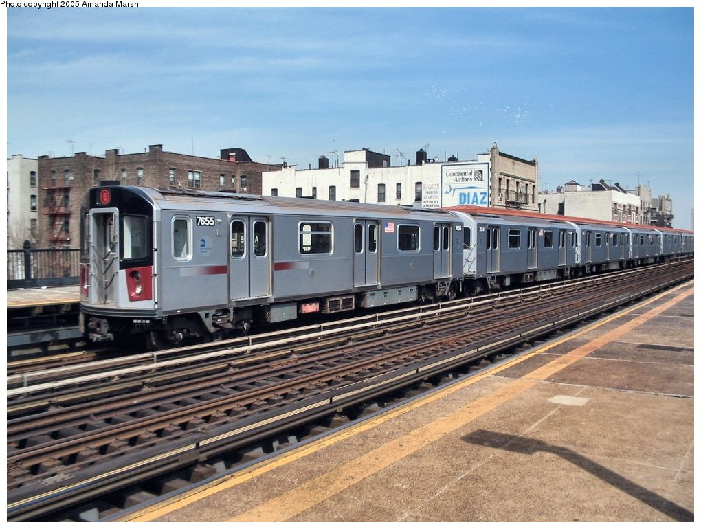 (175k, 1020x770)<br><b>Country:</b> United States<br><b>City:</b> New York<br><b>System:</b> New York City Transit<br><b>Line:</b> IRT Pelham Line<br><b>Location:</b> Elder Avenue <br><b>Route:</b> 6<br><b>Car:</b> R-142A (Option Order, Kawasaki, 2002-2003)  7655 <br><b>Photo by:</b> Amanda Marsh<br><b>Date:</b> 4/17/2004<br><b>Viewed (this week/total):</b> 3 / 3426