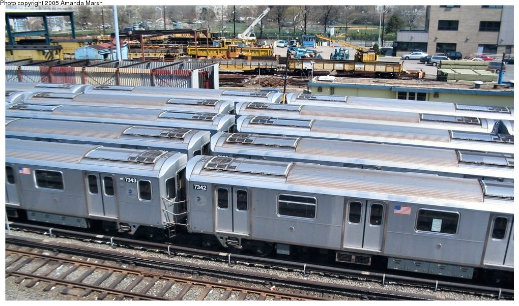 (174k, 1020x602)<br><b>Country:</b> United States<br><b>City:</b> New York<br><b>System:</b> New York City Transit<br><b>Location:</b> Westchester Yard<br><b>Car:</b> R-142A (Primary Order, Kawasaki, 1999-2002)  7342 <br><b>Photo by:</b> Amanda Marsh<br><b>Date:</b> 4/17/2004<br><b>Viewed (this week/total):</b> 1 / 3870