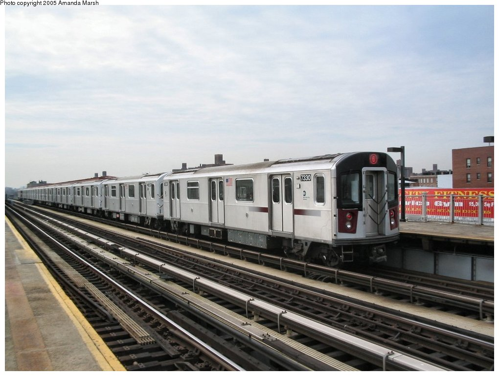 (135k, 1020x770)<br><b>Country:</b> United States<br><b>City:</b> New York<br><b>System:</b> New York City Transit<br><b>Line:</b> IRT Pelham Line<br><b>Location:</b> Castle Hill Avenue <br><b>Route:</b> 6<br><b>Car:</b> R-142A (Primary Order, Kawasaki, 1999-2002)  7330 <br><b>Photo by:</b> Amanda Marsh<br><b>Date:</b> 3/26/2004<br><b>Viewed (this week/total):</b> 0 / 2744