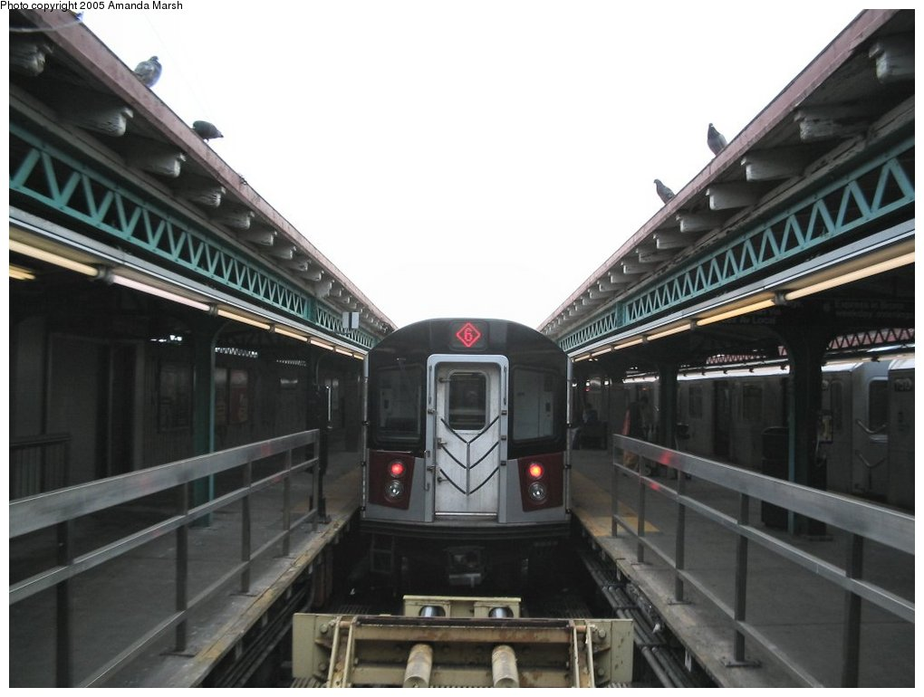 (115k, 1020x770)<br><b>Country:</b> United States<br><b>City:</b> New York<br><b>System:</b> New York City Transit<br><b>Line:</b> IRT Pelham Line<br><b>Location:</b> Pelham Bay Park <br><b>Route:</b> 6<br><b>Car:</b> R-142 or R-142A (Number Unknown)  <br><b>Photo by:</b> Amanda Marsh<br><b>Date:</b> 3/26/2004<br><b>Viewed (this week/total):</b> 0 / 5954