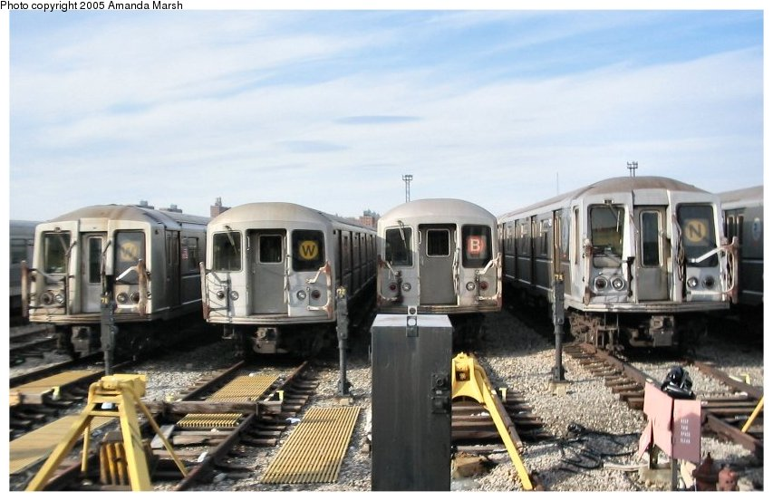 (97k, 853x553)<br><b>Country:</b> United States<br><b>City:</b> New York<br><b>System:</b> New York City Transit<br><b>Location:</b> Coney Island Yard<br><b>Car:</b> R-40 (St. Louis, 1968)   <br><b>Photo by:</b> Amanda Marsh<br><b>Date:</b> 2/29/2004<br><b>Viewed (this week/total):</b> 0 / 3703