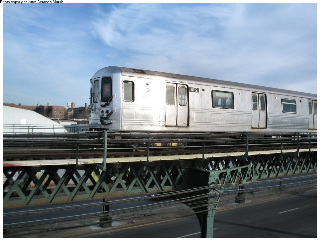 (129k, 1020x770)<br><b>Country:</b> United States<br><b>City:</b> New York<br><b>System:</b> New York City Transit<br><b>Line:</b> BMT Culver Line<br><b>Location:</b> Avenue X <br><b>Route:</b> F<br><b>Car:</b> R-46 (Pullman-Standard, 1974-75) 6112 <br><b>Photo by:</b> Amanda Marsh<br><b>Date:</b> 2/29/2004<br><b>Viewed (this week/total):</b> 2 / 3014
