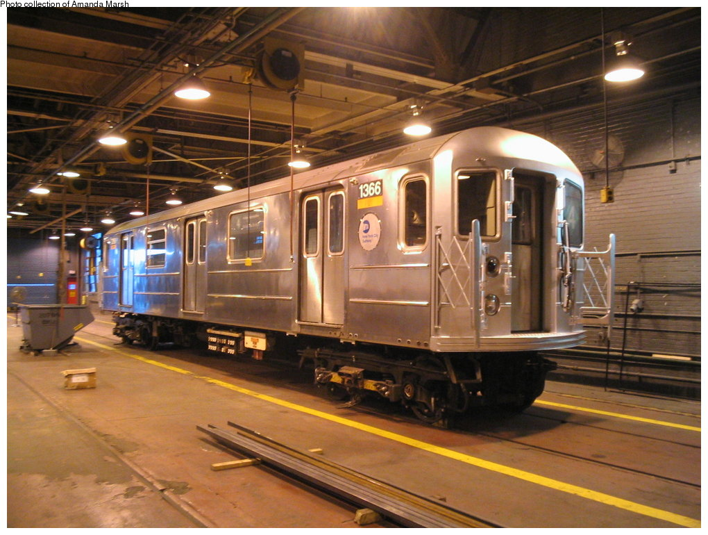 (184k, 1020x770)<br><b>Country:</b> United States<br><b>City:</b> New York<br><b>System:</b> New York City Transit<br><b>Location:</b> 207th Street Shop<br><b>Car:</b> R-62 (Kawasaki, 1983-1985)  1366 <br><b>Collection of:</b> Amanda Marsh<br><b>Date:</b> 9/24/2004<br><b>Viewed (this week/total):</b> 0 / 4333