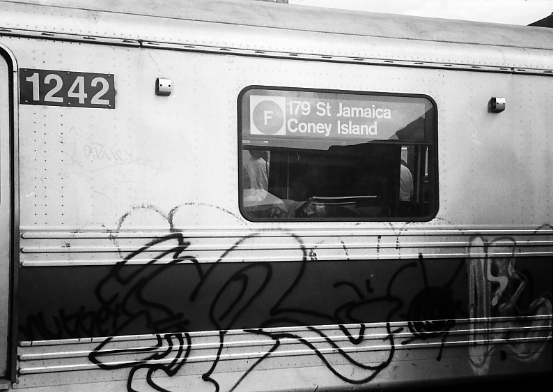 (110k, 794x562)<br><b>Country:</b> United States<br><b>City:</b> New York<br><b>System:</b> New York City Transit<br><b>Location:</b> Coney Island/Stillwell Avenue<br><b>Route:</b> F<br><b>Car:</b> R-46 (Pullman-Standard, 1974-75) 1242 <br><b>Photo by:</b> Stuart Gitlow<br><b>Date:</b> 10/1977<br><b>Viewed (this week/total):</b> 0 / 4384