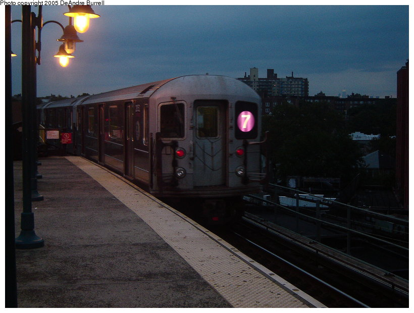 (106k, 820x620)<br><b>Country:</b> United States<br><b>City:</b> New York<br><b>System:</b> New York City Transit<br><b>Line:</b> IRT Flushing Line<br><b>Location:</b> 61st Street/Woodside <br><b>Route:</b> 7<br><b>Car:</b> R-62A (Bombardier, 1984-1987)  2052 <br><b>Photo by:</b> DeAndre Burrell<br><b>Date:</b> 9/23/2005<br><b>Viewed (this week/total):</b> 2 / 2115