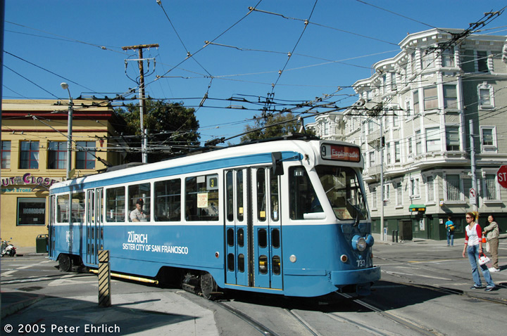 (183k, 720x478)<br><b>Country:</b> United States<br><b>City:</b> San Francisco/Bay Area, CA<br><b>System:</b> SF MUNI<br><b>Location:</b> Duboce/Church <br><b>Car:</b> Brussels 4-axle PCC (La Brugeoise, 1951)  737 <br><b>Photo by:</b> Peter Ehrlich<br><b>Date:</b> 10/2/2005<br><b>Notes:</b> (MSR Open House)<br><b>Viewed (this week/total):</b> 2 / 1647