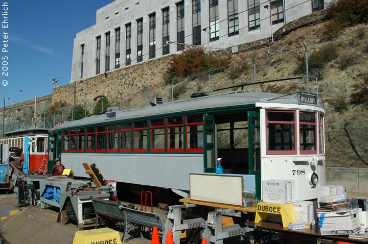 (197k, 720x478)<br><b>Country:</b> United States<br><b>City:</b> San Francisco/Bay Area, CA<br><b>System:</b> SF MUNI<br><b>Location:</b> Duboce aka Mint aka Pharr Yard <br><b>Car:</b> Market Street Railway California Comfort Car (MSRy, 1924-1931)  798 <br><b>Photo by:</b> Peter Ehrlich<br><b>Date:</b> 10/2/2005<br><b>Notes:</b> At Mint Yard, showing restoration progress.<br><b>Viewed (this week/total):</b> 0 / 1639