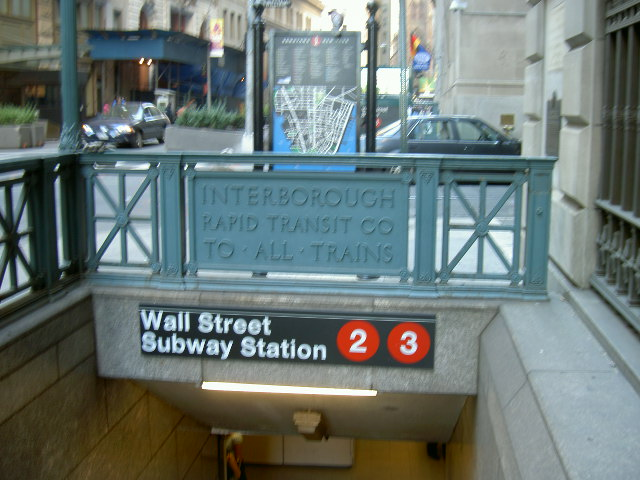 (86k, 640x480)<br><b>Country:</b> United States<br><b>City:</b> New York<br><b>System:</b> New York City Transit<br><b>Line:</b> IRT West Side Line<br><b>Location:</b> Wall Street <br><b>Photo by:</b> Mike Depoto<br><b>Date:</b> 10/1/2005<br><b>Viewed (this week/total):</b> 1 / 4261