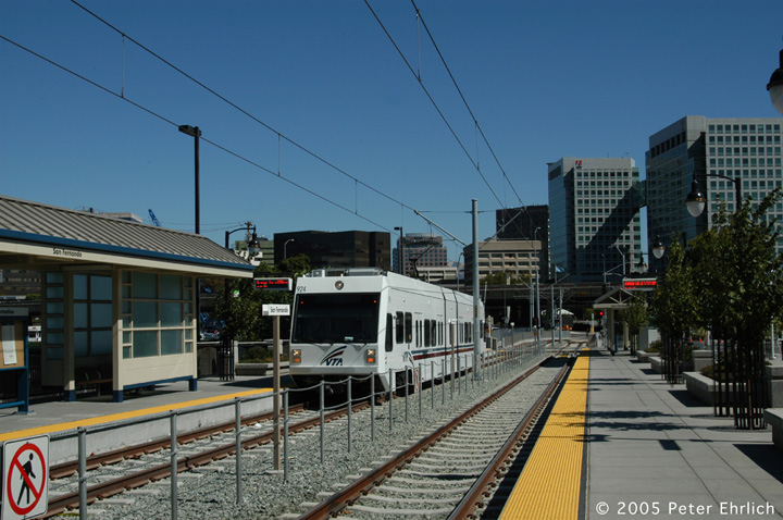 (148k, 720x478)<br><b>Country:</b> United States<br><b>City:</b> San Jose, CA<br><b>System:</b> Santa Clara VTA<br><b>Line:</b> VTA Vasona Line<br><b>Location:</b> San Fernando <br><b>Car:</b> VTA Kinki-Sharyo 924 <br><b>Photo by:</b> Peter Ehrlich<br><b>Date:</b> 10/4/2005<br><b>Notes:</b> Arriving San Fernando Station outbound.<br><b>Viewed (this week/total):</b> 0 / 1031