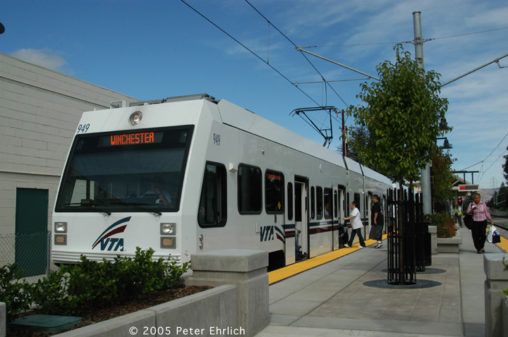 (132k, 720x478)<br><b>Country:</b> United States<br><b>City:</b> San Jose, CA<br><b>System:</b> Santa Clara VTA<br><b>Line:</b> VTA Vasona Line<br><b>Location:</b> Bascom <br><b>Car:</b> VTA Kinki-Sharyo 949 <br><b>Photo by:</b> Peter Ehrlich<br><b>Date:</b> 10/1/2005<br><b>Notes:</b> At Bascom Station outbound.<br><b>Viewed (this week/total):</b> 0 / 932