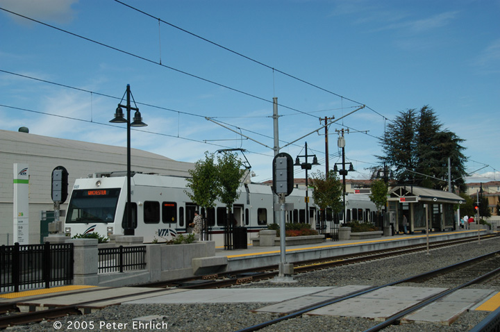 (138k, 720x478)<br><b>Country:</b> United States<br><b>City:</b> San Jose, CA<br><b>System:</b> Santa Clara VTA<br><b>Line:</b> VTA Vasona Line<br><b>Location:</b> Bascom <br><b>Car:</b> VTA Kinki-Sharyo 949 <br><b>Photo by:</b> Peter Ehrlich<br><b>Date:</b> 10/1/2005<br><b>Notes:</b> At Bascom Station outbound.<br><b>Viewed (this week/total):</b> 0 / 939