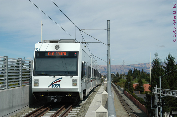 (119k, 720x478)<br><b>Country:</b> United States<br><b>City:</b> San Jose, CA<br><b>System:</b> Santa Clara VTA<br><b>Line:</b> VTA Vasona Line<br><b>Location:</b> Hamilton <br><b>Car:</b> VTA Kinki-Sharyo 953 <br><b>Photo by:</b> Peter Ehrlich<br><b>Date:</b> 10/1/2005<br><b>Notes:</b> Leaving Hamilton Station inbound.<br><b>Viewed (this week/total):</b> 0 / 1269