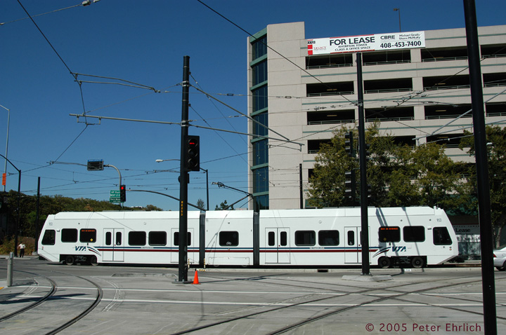 (149k, 720x478)<br><b>Country:</b> United States<br><b>City:</b> San Jose, CA<br><b>System:</b> Santa Clara VTA<br><b>Line:</b> VTA 1st St/Downtown/St. Teresa<br><b>Location:</b> Vasona Jct. <br><b>Car:</b> VTA Kinki-Sharyo 953 <br><b>Photo by:</b> Peter Ehrlich<br><b>Date:</b> 10/4/2005<br><b>Notes:</b> Vasona Junction inbound from Vasona Line.<br><b>Viewed (this week/total):</b> 1 / 1185