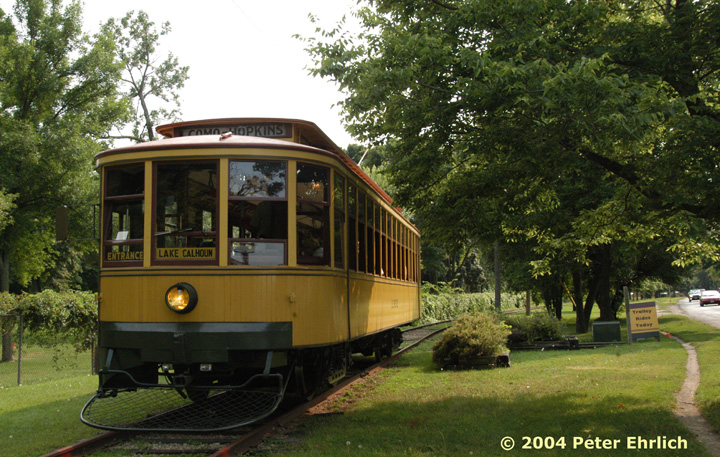 (192k, 720x457)<br><b>Country:</b> United States<br><b>City:</b> Minneapolis, MN<br><b>System:</b> Minnesota Streetcar Museum <br><b>Line:</b> Como-Harriet Line<br><b>Car:</b>  1300 <br><b>Photo by:</b> Peter Ehrlich<br><b>Date:</b> 8/1/2004<br><b>Notes:</b> At the Lake Calhoun end of the line.  Lake Calhoun is on the right, out of the picture.<br><b>Viewed (this week/total):</b> 0 / 762