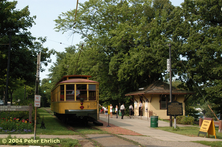 (230k, 720x478)<br><b>Country:</b> United States<br><b>City:</b> Minneapolis, MN<br><b>System:</b> Minnesota Streetcar Museum <br><b>Line:</b> Como-Harriet Line<br><b>Car:</b>  1300 <br><b>Photo by:</b> Peter Ehrlich<br><b>Date:</b> 8/1/2004<br><b>Notes:</b> Linden Hills inbound, with the station building/gift shop.<br><b>Viewed (this week/total):</b> 0 / 889