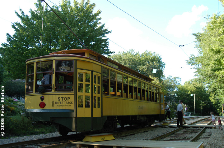 (192k, 720x478)<br><b>Country:</b> United States<br><b>City:</b> Minneapolis, MN<br><b>System:</b> Minnesota Streetcar Museum <br><b>Line:</b> Como-Harriet Line<br><b>Car:</b>  1300 <br><b>Photo by:</b> Peter Ehrlich<br><b>Date:</b> 8/27/2005<br><b>Notes:</b> At Linden Hills outbound.<br><b>Viewed (this week/total):</b> 2 / 1468