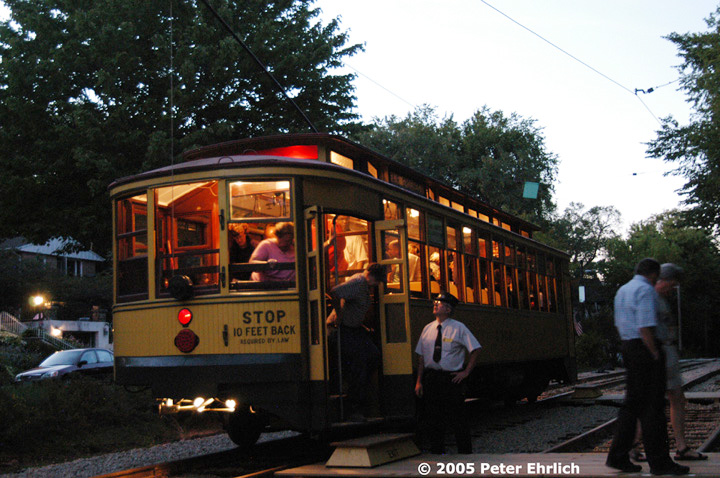 (168k, 720x478)<br><b>Country:</b> United States<br><b>City:</b> Minneapolis, MN<br><b>System:</b> Minnesota Streetcar Museum <br><b>Line:</b> Como-Harriet Line<br><b>Car:</b>  1300 <br><b>Photo by:</b> Peter Ehrlich<br><b>Date:</b> 8/27/2005<br><b>Notes:</b> At Linden Hills outbound.<br><b>Viewed (this week/total):</b> 1 / 939