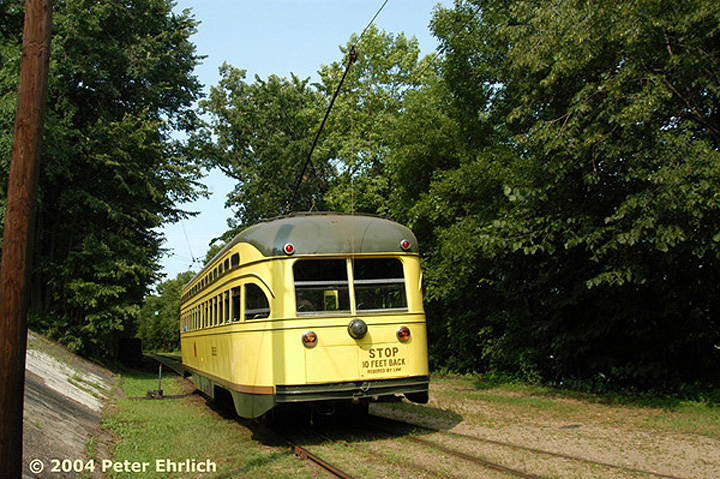 (223k, 720x479)<br><b>Country:</b> United States<br><b>City:</b> Minneapolis, MN<br><b>System:</b> Minnesota Streetcar Museum <br><b>Line:</b> Como-Harriet Line<br><b>Car:</b>  322 <br><b>Photo by:</b> Peter Ehrlich<br><b>Date:</b> 8/1/2004<br><b>Notes:</b> PCC 322 at Carbarn.<br><b>Viewed (this week/total):</b> 3 / 1269