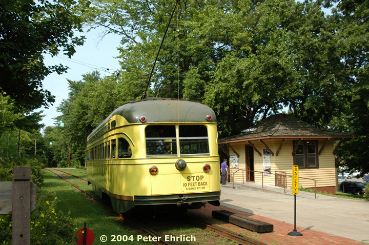(236k, 720x478)<br><b>Country:</b> United States<br><b>City:</b> Minneapolis, MN<br><b>System:</b> Minnesota Streetcar Museum <br><b>Line:</b> Como-Harriet Line<br><b>Car:</b>  322 <br><b>Photo by:</b> Peter Ehrlich<br><b>Date:</b> 8/1/2004<br><b>Notes:</b> At Linden Hills outbound.<br><b>Viewed (this week/total):</b> 1 / 958