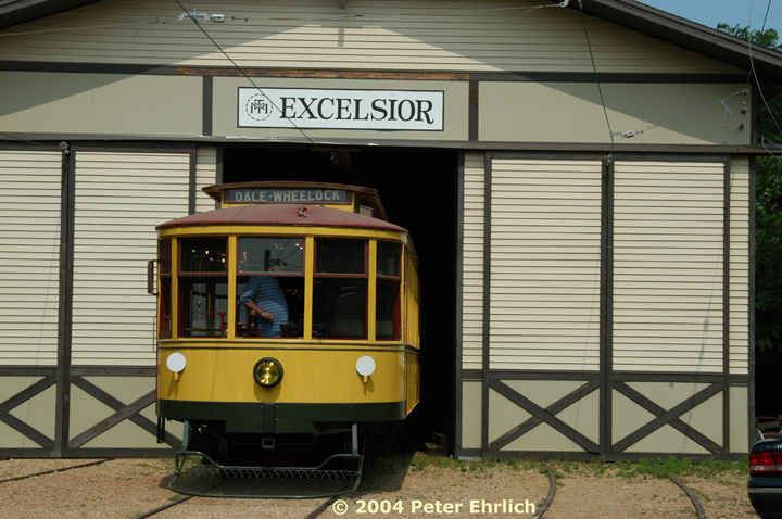 (139k, 720x478)<br><b>Country:</b> United States<br><b>City:</b> Minneapolis, MN<br><b>System:</b> Minnesota Streetcar Museum <br><b>Line:</b> Excelsior Line<br><b>Car:</b>  1239 <br><b>Photo by:</b> Peter Ehrlich<br><b>Date:</b> 8/1/2004<br><b>Notes:</b> 1239 backing into the barn.<br><b>Viewed (this week/total):</b> 1 / 1023