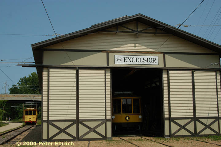 (124k, 720x478)<br><b>Country:</b> United States<br><b>City:</b> Minneapolis, MN<br><b>System:</b> Minnesota Streetcar Museum <br><b>Line:</b> Excelsior Line<br><b>Car:</b>  1239 <br><b>Photo by:</b> Peter Ehrlich<br><b>Date:</b> 8/1/2004<br><b>Notes:</b> 1239 inside Excelsior Barn, with 78 in background.<br><b>Viewed (this week/total):</b> 2 / 754