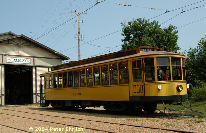 (158k, 720x465)<br><b>Country:</b> United States<br><b>City:</b> Minneapolis, MN<br><b>System:</b> Minnesota Streetcar Museum <br><b>Line:</b> Excelsior Line<br><b>Car:</b>  1239 <br><b>Photo by:</b> Peter Ehrlich<br><b>Date:</b> 8/1/2004<br><b>Notes:</b> Twin Cities 1239 outside Excelsior Barn.<br><b>Viewed (this week/total):</b> 8 / 1448