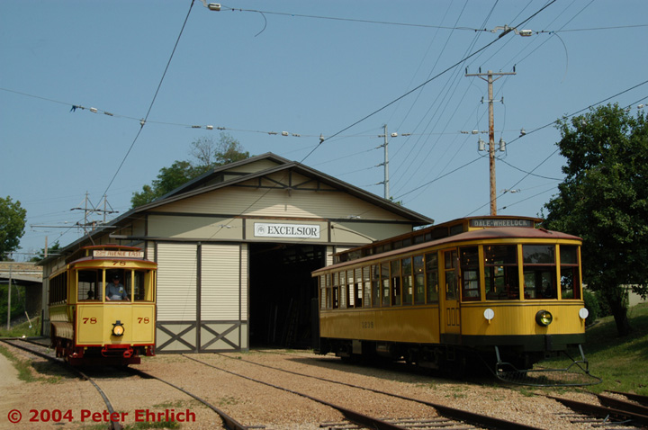(135k, 720x478)<br><b>Country:</b> United States<br><b>City:</b> Minneapolis, MN<br><b>System:</b> Minnesota Streetcar Museum <br><b>Line:</b> Excelsior Line<br><b>Car:</b>  78 <br><b>Photo by:</b> Peter Ehrlich<br><b>Date:</b> 8/1/2004<br><b>Notes:</b> Cars 78 and 1239 at the barn.<br><b>Viewed (this week/total):</b> 1 / 901
