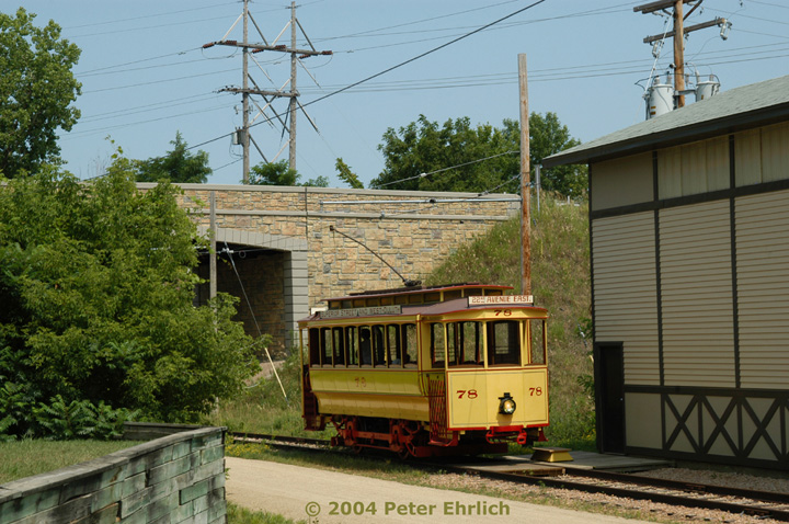 (181k, 720x478)<br><b>Country:</b> United States<br><b>City:</b> Minneapolis, MN<br><b>System:</b> Minnesota Streetcar Museum <br><b>Line:</b> Excelsior Line<br><b>Car:</b>  78 <br><b>Photo by:</b> Peter Ehrlich<br><b>Date:</b> 8/1/2004<br><b>Notes:</b> 78 alongside back of barn<br><b>Viewed (this week/total):</b> 0 / 849