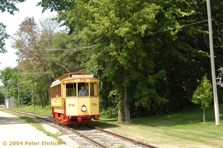 (230k, 720x478)<br><b>Country:</b> United States<br><b>City:</b> Minneapolis, MN<br><b>System:</b> Minnesota Streetcar Museum <br><b>Line:</b> Excelsior Line<br><b>Car:</b>  78 <br><b>Photo by:</b> Peter Ehrlich<br><b>Date:</b> 8/1/2004<br><b>Notes:</b> Approaching Morse Avenue outbound.<br><b>Viewed (this week/total):</b> 1 / 815