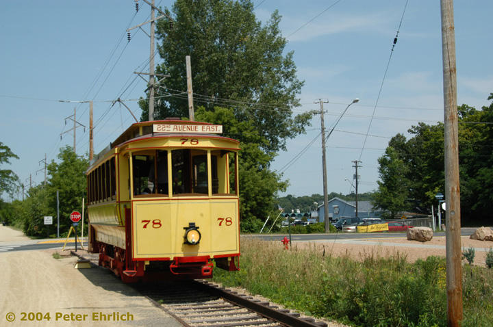 (167k, 720x478)<br><b>Country:</b> United States<br><b>City:</b> Minneapolis, MN<br><b>System:</b> Minnesota Streetcar Museum <br><b>Line:</b> Excelsior Line<br><b>Car:</b>  78 <br><b>Photo by:</b> Peter Ehrlich<br><b>Date:</b> 8/1/2004<br><b>Notes:</b> At Excelsior Blvd., east end of line.<br><b>Viewed (this week/total):</b> 0 / 997