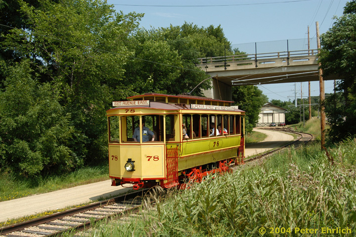 (240k, 720x478)<br><b>Country:</b> United States<br><b>City:</b> Minneapolis, MN<br><b>System:</b> Minnesota Streetcar Museum <br><b>Line:</b> Excelsior Line<br><b>Car:</b>  78 <br><b>Photo by:</b> Peter Ehrlich<br><b>Date:</b> 8/1/2004<br><b>Notes:</b> At Mill Avenue overpass inbound.<br><b>Viewed (this week/total):</b> 2 / 889