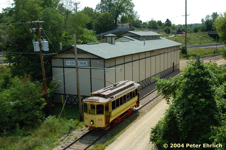 (199k, 720x478)<br><b>Country:</b> United States<br><b>City:</b> Minneapolis, MN<br><b>System:</b> Minnesota Streetcar Museum <br><b>Line:</b> Excelsior Line<br><b>Car:</b>  78 <br><b>Photo by:</b> Peter Ehrlich<br><b>Date:</b> 8/1/2004<br><b>Notes:</b> 78 near 2nd Street overpass.<br><b>Viewed (this week/total):</b> 4 / 1168