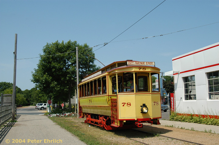 (146k, 720x478)<br><b>Country:</b> United States<br><b>City:</b> Minneapolis, MN<br><b>System:</b> Minnesota Streetcar Museum <br><b>Line:</b> Excelsior Line<br><b>Car:</b>  78 <br><b>Photo by:</b> Peter Ehrlich<br><b>Date:</b> 8/1/2004<br><b>Notes:</b> Duluth 78 at Water Street, west end of line.<br><b>Viewed (this week/total):</b> 1 / 775