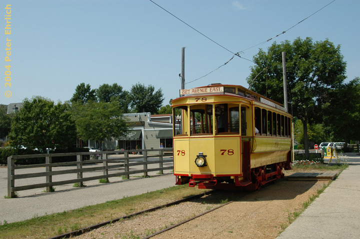 (155k, 720x478)<br><b>Country:</b> United States<br><b>City:</b> Minneapolis, MN<br><b>System:</b> Minnesota Streetcar Museum <br><b>Line:</b> Excelsior Line<br><b>Car:</b>  78 <br><b>Photo by:</b> Peter Ehrlich<br><b>Date:</b> 8/1/2004<br><b>Notes:</b> Duluth 78 at Water Street, west end of line.<br><b>Viewed (this week/total):</b> 0 / 788