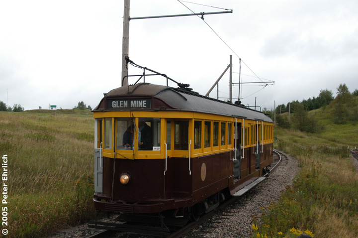 (122k, 720x478)<br><b>Country:</b> United States<br><b>City:</b> Chisholm, MN<br><b>System:</b> Ironworld<br><b>Car:</b> Melbourne W2 Class (1923-1931)  601 <br><b>Photo by:</b> Peter Ehrlich<br><b>Date:</b> 8/29/2005<br><b>Notes:</b> Approaching Pillsbury Station (not in use) outbound.<br><b>Viewed (this week/total):</b> 2 / 1250