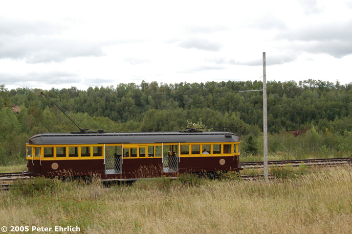 (138k, 720x478)<br><b>Country:</b> United States<br><b>City:</b> Chisholm, MN<br><b>System:</b> Ironworld<br><b>Car:</b> Melbourne W2 Class (1923-1931)  601 <br><b>Photo by:</b> Peter Ehrlich<br><b>Date:</b> 8/29/2005<br><b>Notes:</b> Approaching Pillsbury Station (not in use) outbound.<br><b>Viewed (this week/total):</b> 3 / 1337
