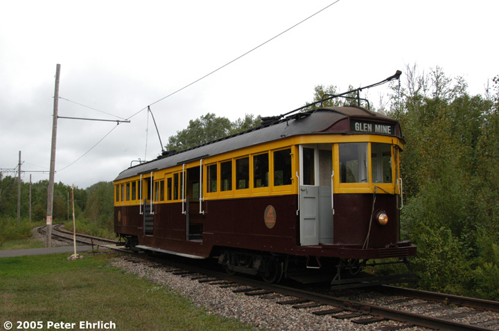 (129k, 720x478)<br><b>Country:</b> United States<br><b>City:</b> Chisholm, MN<br><b>System:</b> Ironworld<br><b>Car:</b> Melbourne W2 Class (1923-1931)  601 <br><b>Photo by:</b> Peter Ehrlich<br><b>Date:</b> 8/29/2005<br><b>Notes:</b> Mesaba Junction outbound.  The tram will now traverse a counter-clockwise loop.<br><b>Viewed (this week/total):</b> 0 / 905